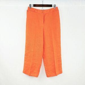 NWT Talbots Petite Irish Linen Orange Capri Pants